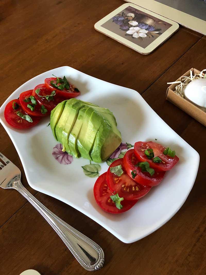 Breakfast Avocado and Tomatoes - Kate Stanton BB Encinitas, CA